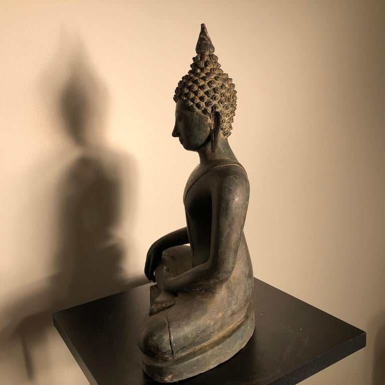 Antique Buddha Calling Earth to Witness, Hand Cast Thai Bronze 19th Century,  For Sale 7