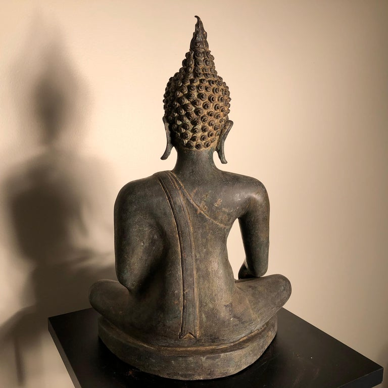 Antique Buddha Calling Earth to Witness, Hand Cast Thai Bronze 19th Century,  For Sale 8