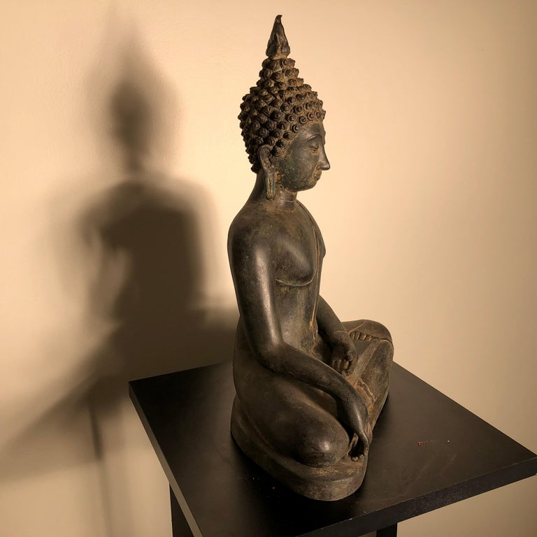 Antique Buddha Calling Earth to Witness, Hand Cast Thai Bronze 19th Century,  For Sale 4