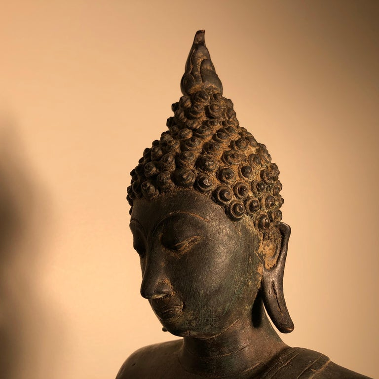 Antique Buddha Calling Earth to Witness, Hand Cast Thai Bronze 19th Century,  For Sale 5