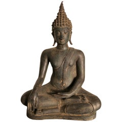 Antique Buddha Calling Earth to Witness, Hand Cast Thai Bronze 19th Century,