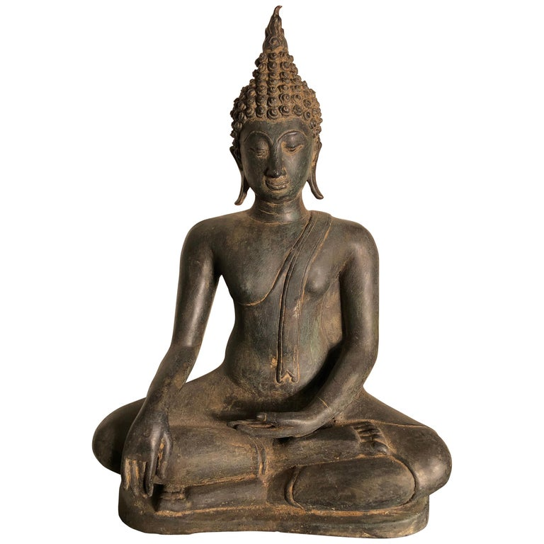Antique Buddha Calling Earth to Witness, Hand Cast Thai Bronze 19th Century,  For Sale