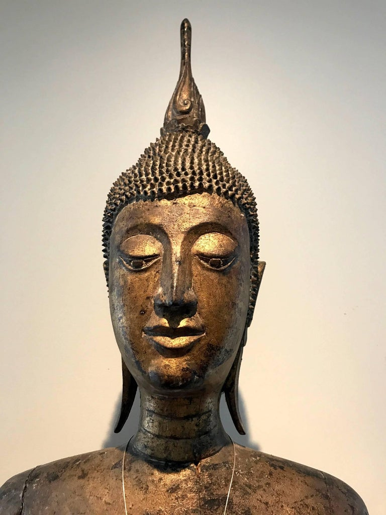 Archaistic Antique Buddha Statue Laos Southeast Asia For Sale