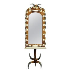 Antique Bull Horn Mirror with Console Table, Austria, 1870