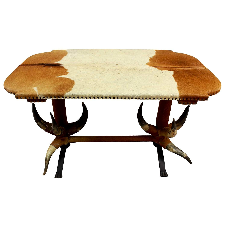 Antique Bull Horn Table, circa 1870