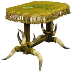 Antique Bull Horn Table with Green Velvet, circa 1870