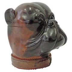 Antique Bulldog Head Wooden Box, England, 1900
