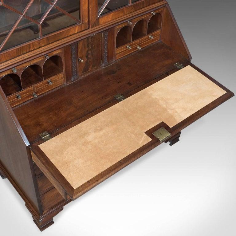 Antique Bureau Bookcase, English Late Georgian Mahogany Writing Desk For Sale 3