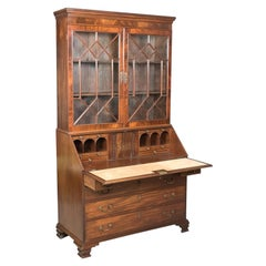 Antique Bureau Bookcase, English Late Georgian Mahogany Writing Desk