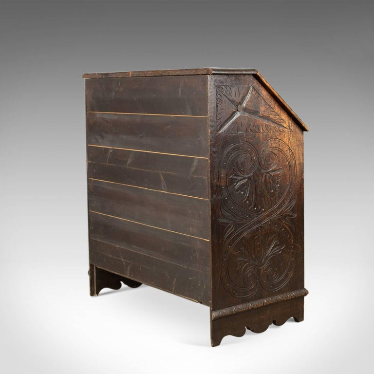 19th Century Antique Bureau, English, Oak, Victorian, Green Man, Writing Desk, circa 1880
