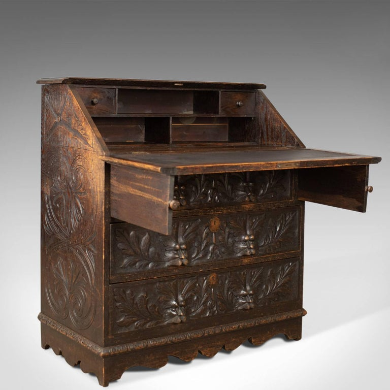 Antique Bureau, English, Oak, Victorian, Green Man, Writing Desk, circa 1880 1