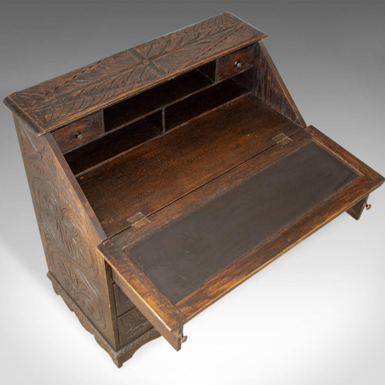 Antique Bureau, English, Oak, Victorian, Green Man, Writing Desk, circa 1880 2
