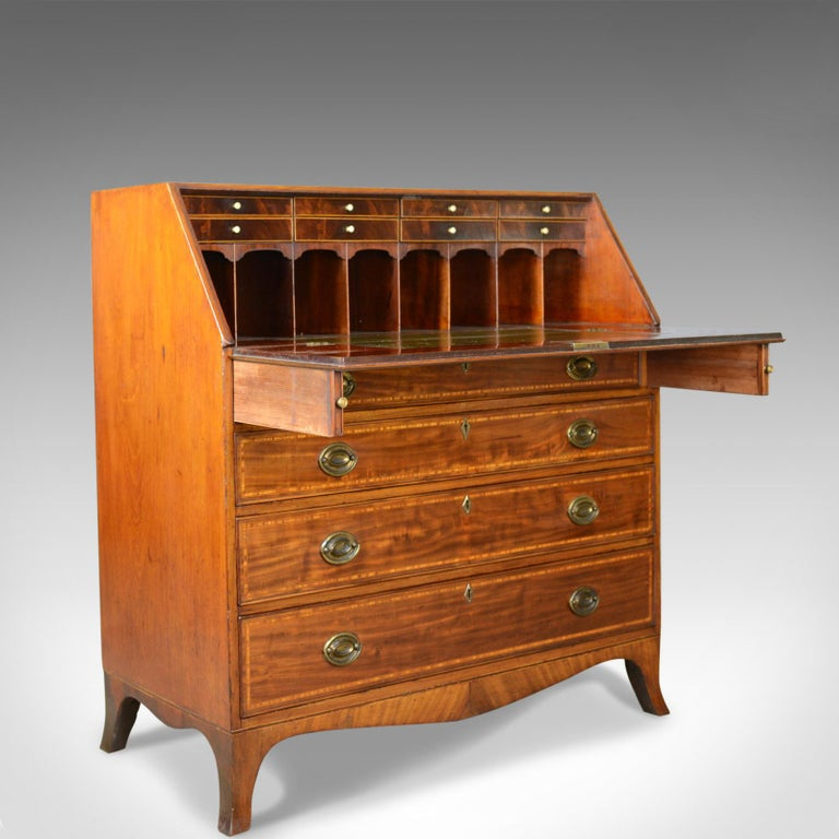 Antique Bureau, Mahogany, English, Georgian, Desk, 18th Century, circa 1770 For Sale 1