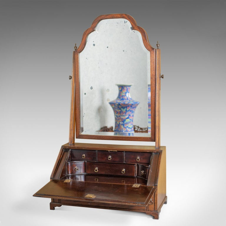Antique Bureau Mirror, English, Georgian Revival, Mahogany, Toilet, circa 1910 In Good Condition For Sale In Taunton, GB