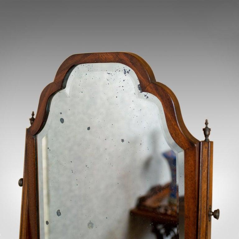 20th Century Antique Bureau Mirror, English, Georgian Revival, Mahogany, Toilet, circa 1910 For Sale