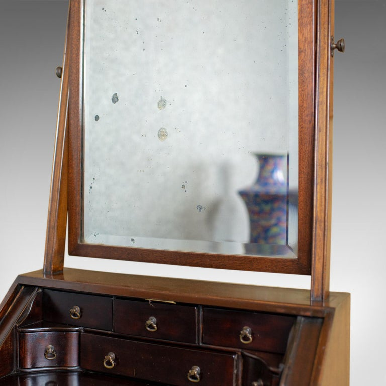 Antique Bureau Mirror, English, Georgian Revival, Mahogany, Toilet, circa 1910 For Sale 1