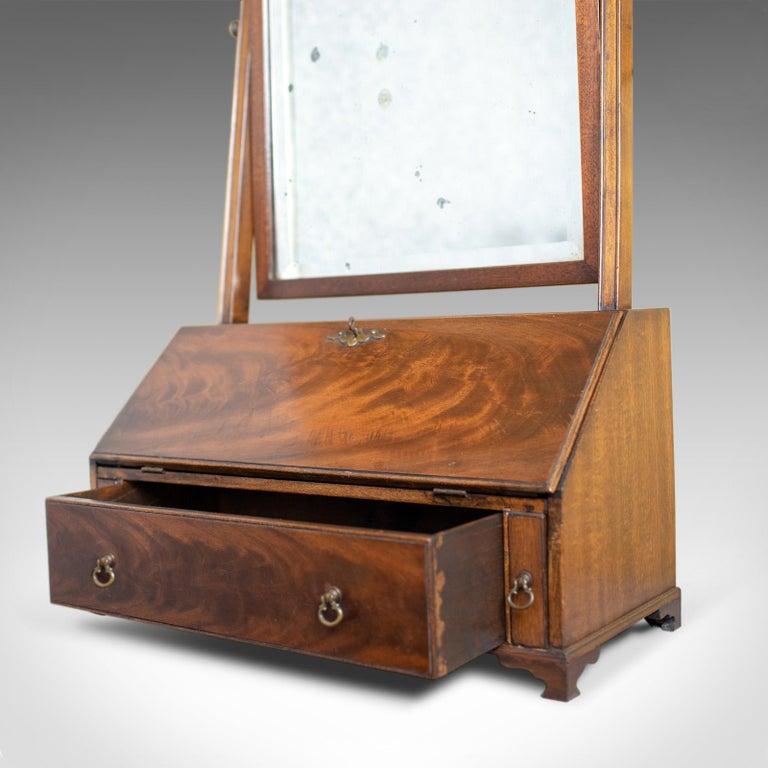 Antique Bureau Mirror, English, Georgian Revival, Mahogany, Toilet, circa 1910 For Sale 4