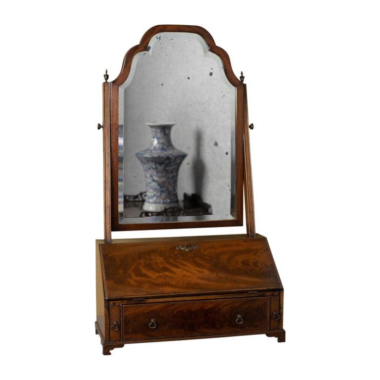 Antique Bureau Mirror, English, Georgian Revival, Mahogany, Toilet, circa 1910 For Sale