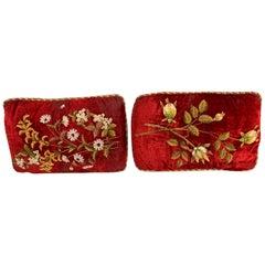 Antique Burgundy Hand Stitched Pillows, Pair
