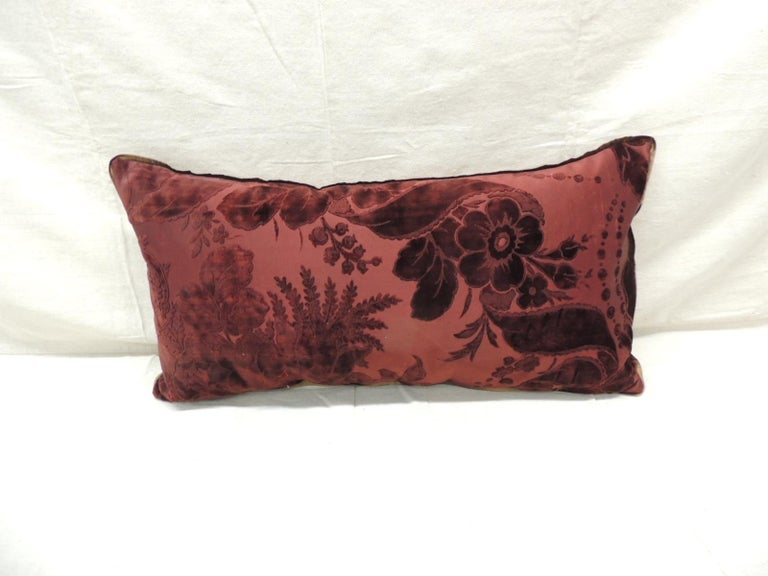 Antique burgundy floral silk velvet long Bolster decorative pillow.