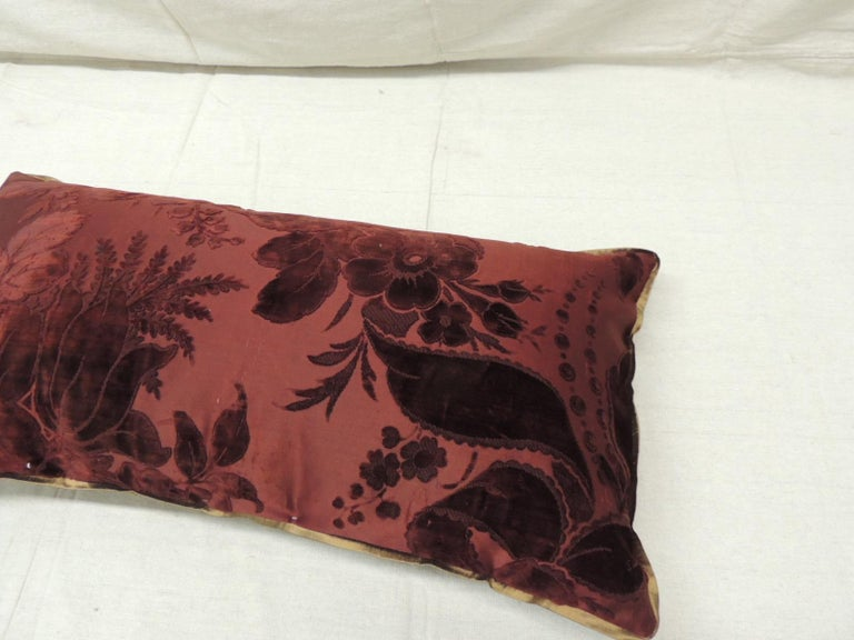 Antique Burgundy Floral Silk Velvet Long Bolster Decorative Pillow In Good Condition For Sale In Wilton Manors, FL