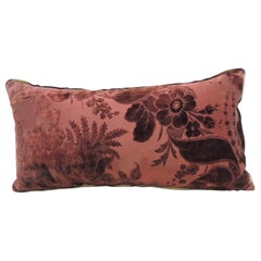 Antique Burgundy Floral Silk Velvet Long Bolster Decorative Pillow