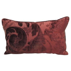 Antique Burgundy Floral Silk Velvet Lumbar Decorative Pillow