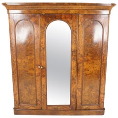 Antique Burl Walnut, 3-Door Compactum, Armoire, Wardrobe, Dresser, Scotland 1880