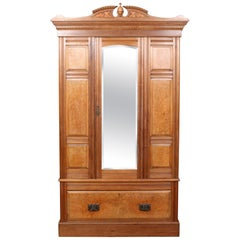 Antique Burl Walnut Wardrobe Mirrored Armoire, 19th Century
