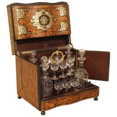 Antique Burl Wood Cave a Liqueur with Brass and Mother of Pearl Inlay circa 1850