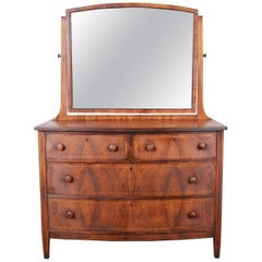 Antique Burled Walnut Bow Front Dresser with Mirror, circa 1900