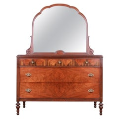 Antique Burled Walnut Dresser with Mirror Attributed to Baker Furniture, 1920s