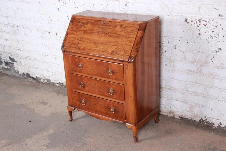 Antique Drop Front Secretary Desk >> Antique Burled Walnut Drop Front Secretary Desk By Lebus