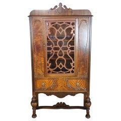 Antique Burled Walnut Jacobean Style China Hutch Curio Display Cabinet Cupboard