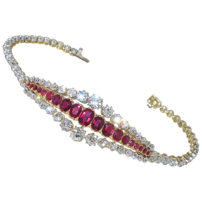 01ba0fcf129 Antique Burma Ruby and Diamond Bracelet