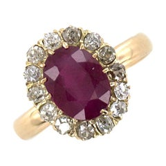Antique Burma Ruby Diamond 18 Karat Yellow Gold Ring AGL Certified