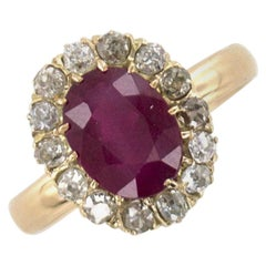 Antique Burma Ruby Old Mine Cut Diamond 18 Karat Yellow Gold Cocktail Ring AGL