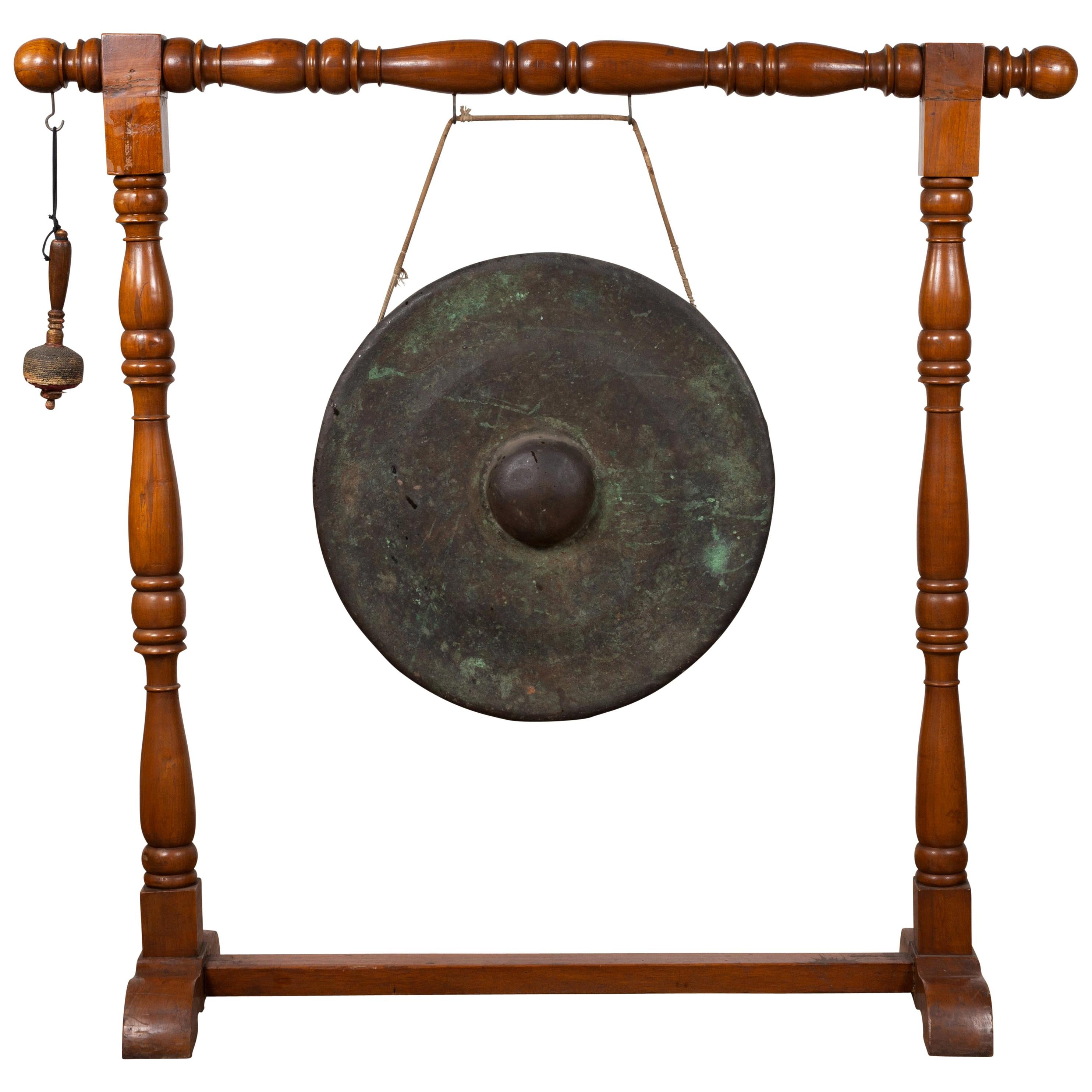 Antique Burmese Bronze Temple Gong with Mallet Mounted on Turned Wooden Stand