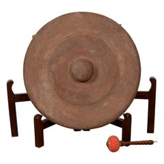 Antique Burmese Bronze Temple Gong with Red Mallet and Raised Center