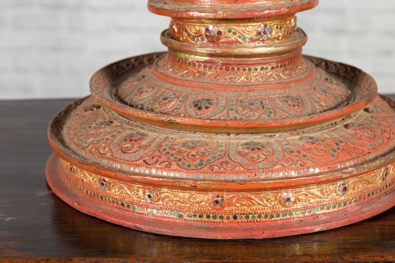Antique Burmese Carved Teak Lidded Offering Bowl with Inlaid and Gilt Decor For Sale 6