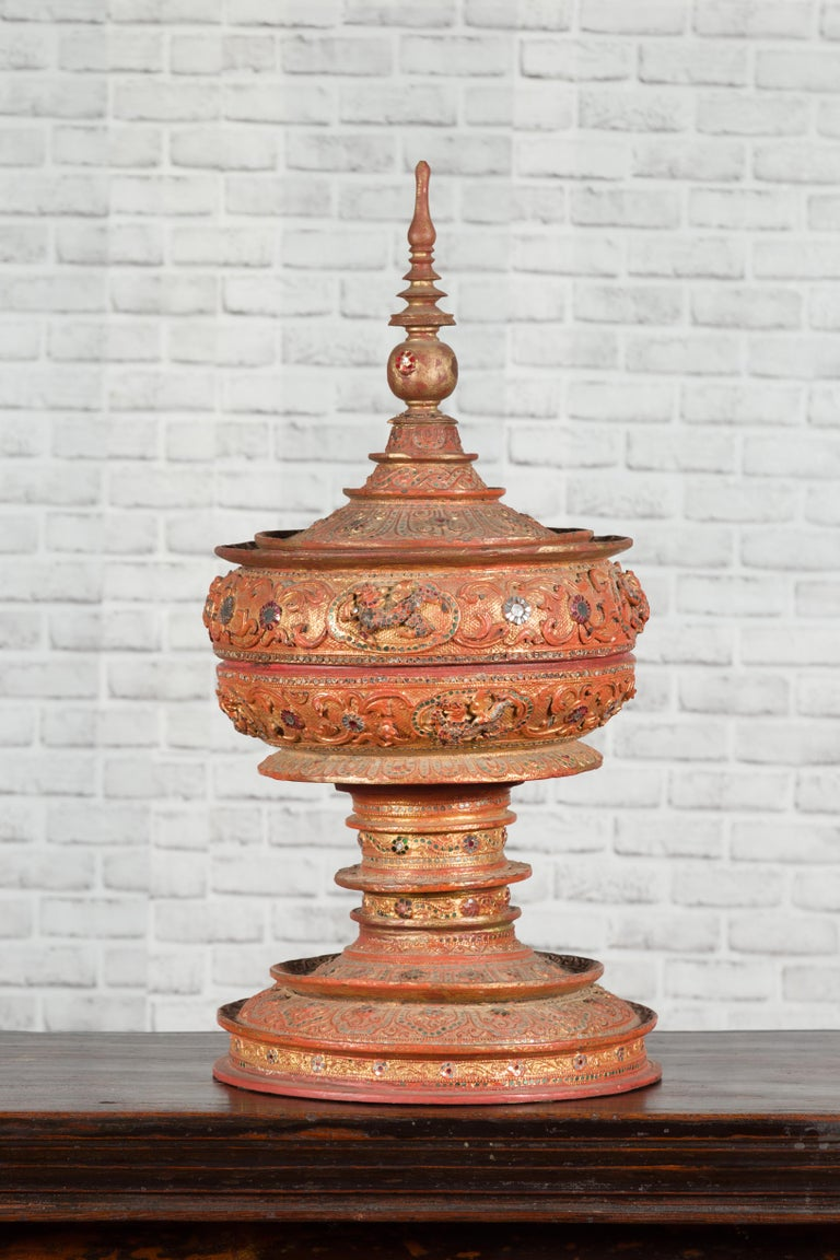 Antique Burmese Carved Teak Lidded Offering Bowl with Inlaid and Gilt Decor For Sale 7