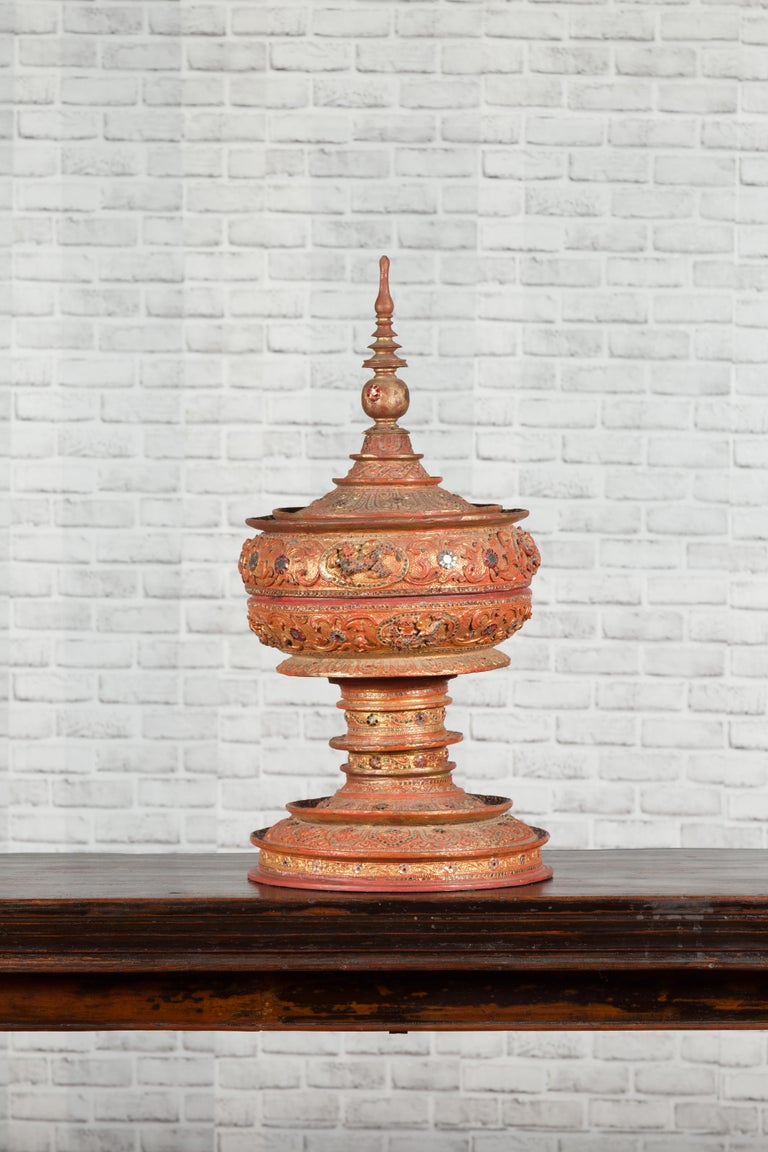 Antique Burmese Carved Teak Lidded Offering Bowl with Inlaid and Gilt Decor For Sale 8