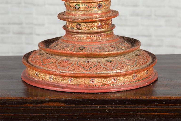 Antique Burmese Carved Teak Lidded Offering Bowl with Inlaid and Gilt Decor For Sale 9