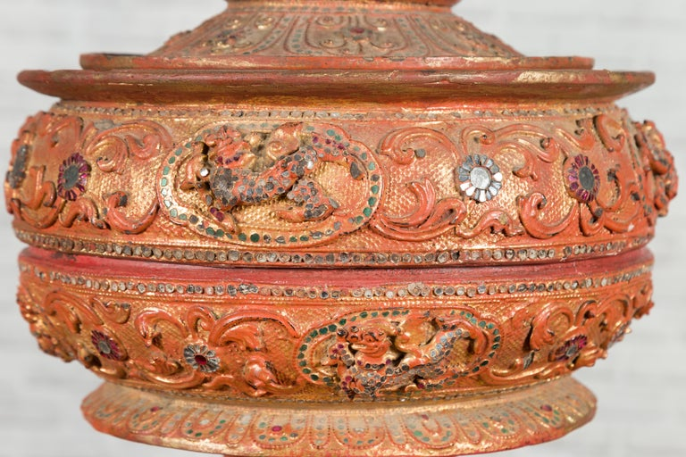 Antique Burmese Carved Teak Lidded Offering Bowl with Inlaid and Gilt Decor For Sale 11