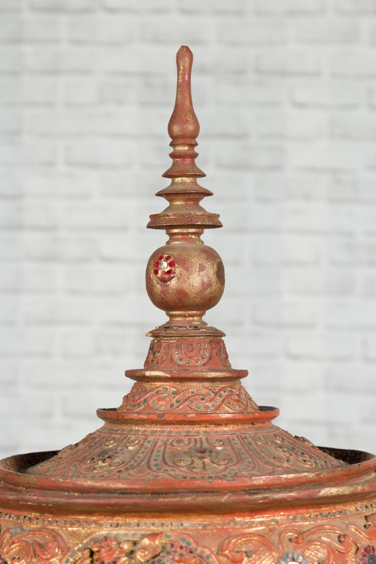 Antique Burmese Carved Teak Lidded Offering Bowl with Inlaid and Gilt Decor For Sale 12