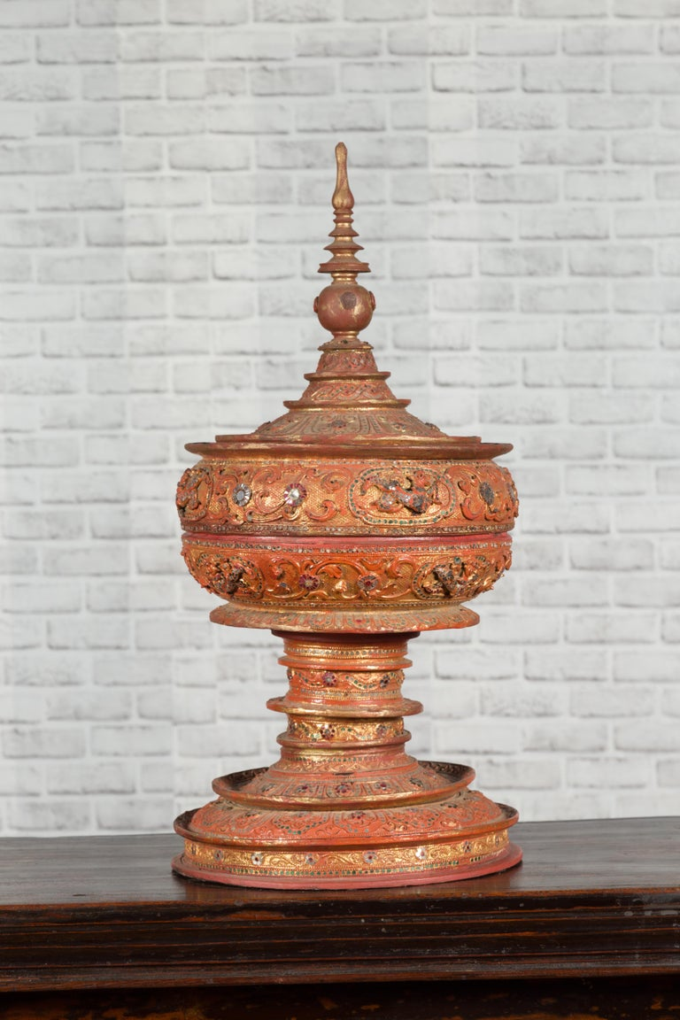 Antique Burmese Carved Teak Lidded Offering Bowl with Inlaid and Gilt Decor For Sale 13