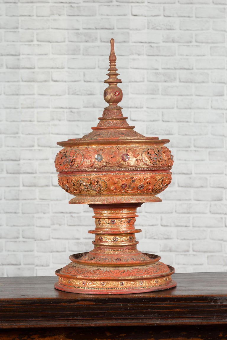 Antique Burmese Carved Teak Lidded Offering Bowl with Inlaid and Gilt Decor For Sale 14