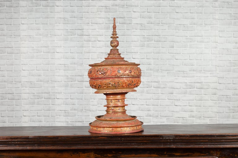 Antique Burmese Carved Teak Lidded Offering Bowl with Inlaid and Gilt Decor In Good Condition For Sale In Yonkers, NY