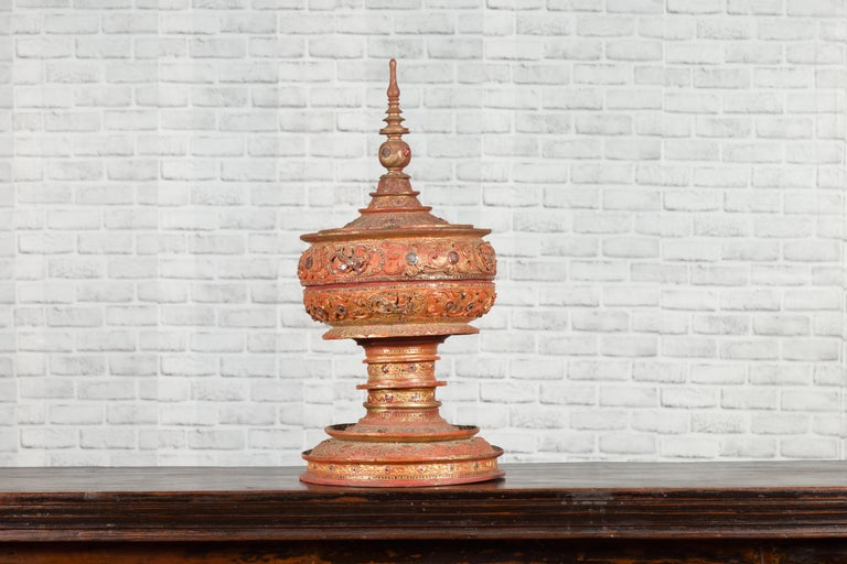 Antique Burmese Carved Teak Lidded Offering Bowl with Inlaid and Gilt Decor For Sale 1