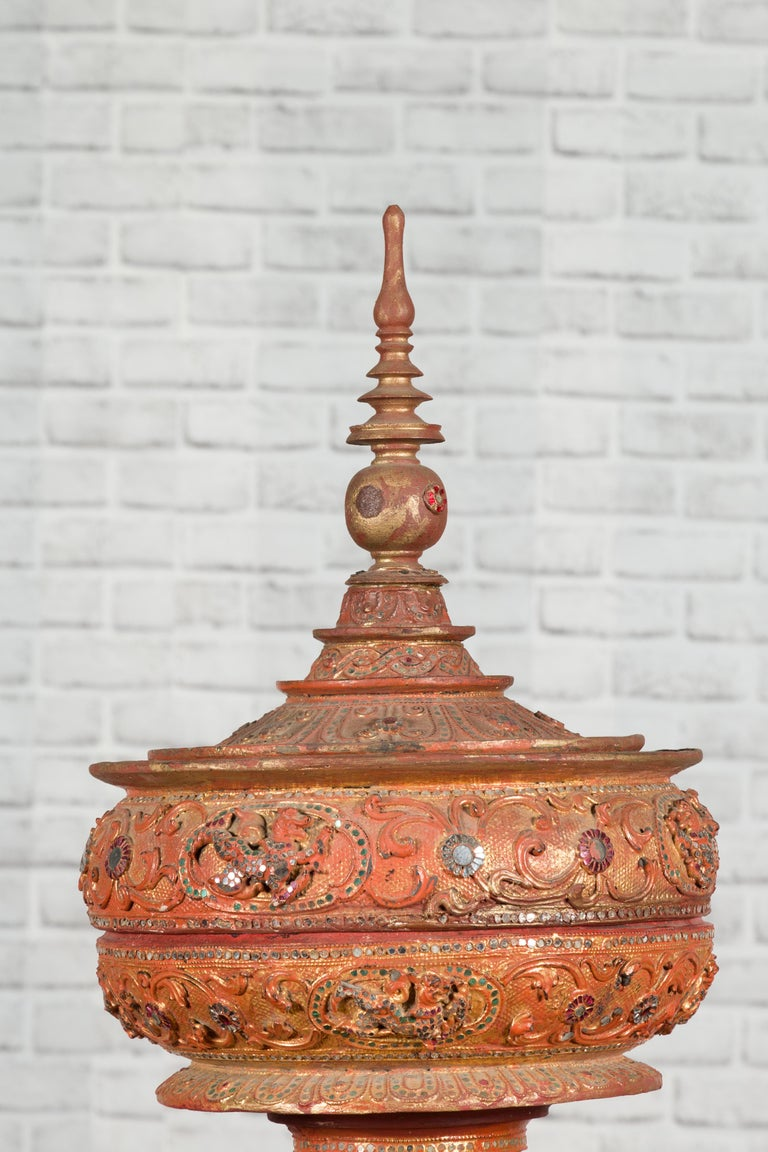 Antique Burmese Carved Teak Lidded Offering Bowl with Inlaid and Gilt Decor For Sale 2